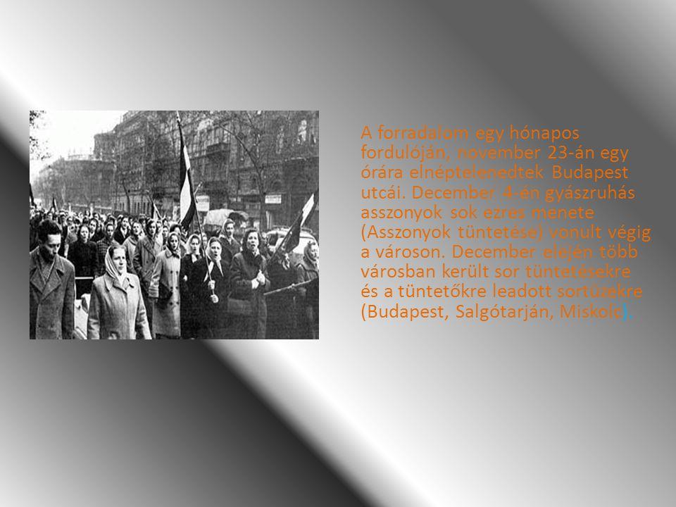 A forradalom egy hónapos fordulóján, november 23-án egy órára elnéptelenedtek Budapest utcái. December 4-én gyászruhás asszonyok sok ezres menete (Ass