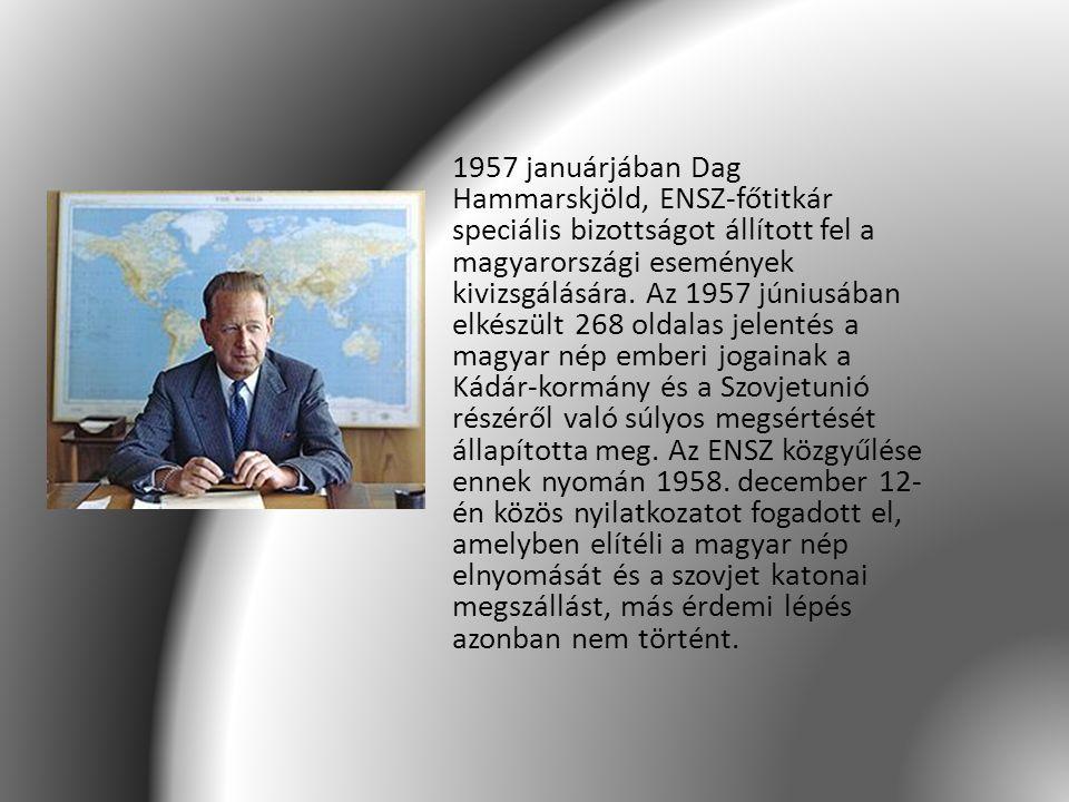 1957 januárjában Dag Hammarskjöld, ENSZ-főtitkár speciális bizottságot állított fel a magyarországi események kivizsgálására. Az 1957 júniusában elkés