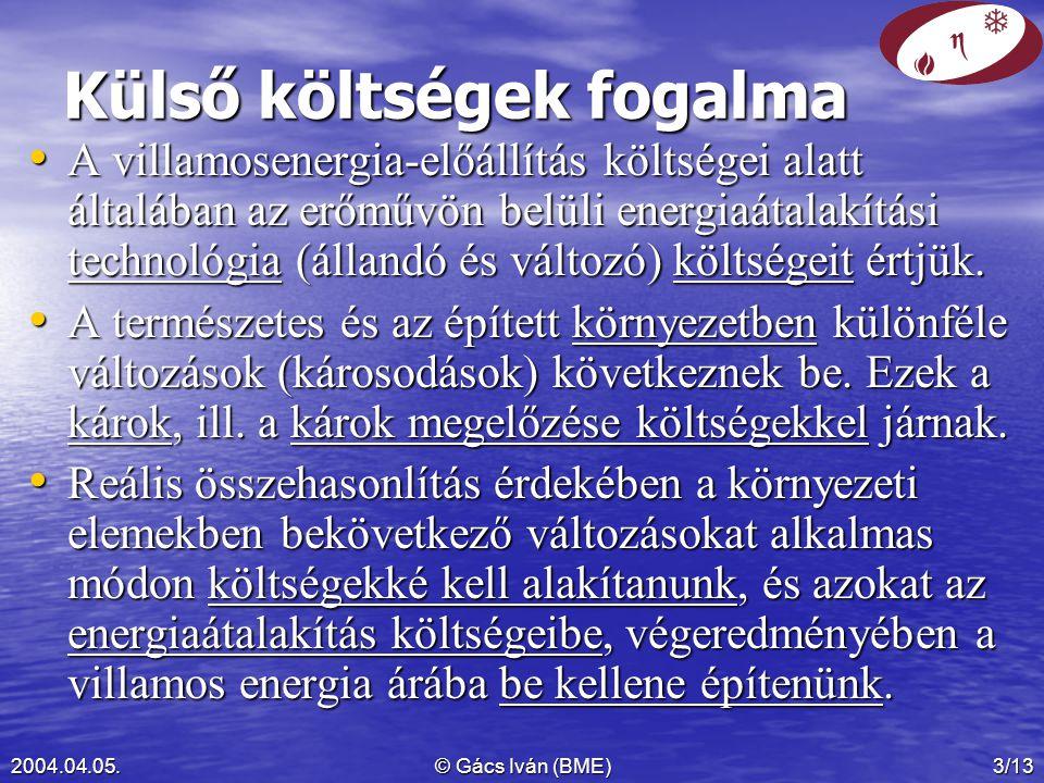 2004.04.05.© Gács Iván (BME)3/13 Külső költségek fogalma A villamosenergia-előállítás költségei alatt általában az erőművön belüli energiaátalakítási