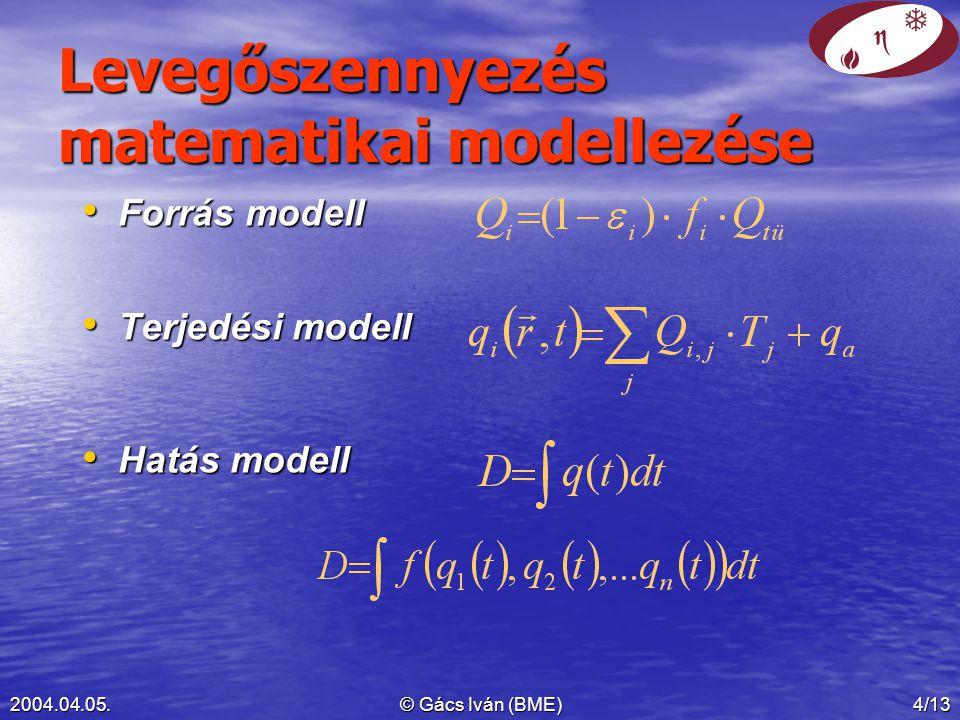 2004.04.05.© Gács Iván (BME)4/13 Levegőszennyezés matematikai modellezése Forrás modell Forrás modell Terjedési modell Terjedési modell Hatás modell Hatás modell