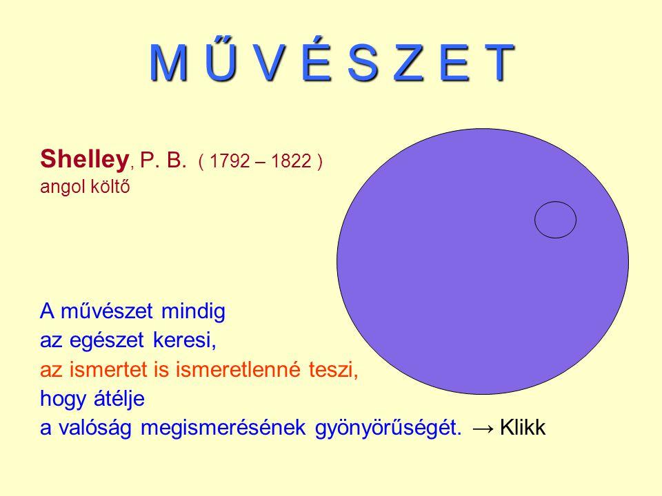 M Ű V É S Z E T Shelley, P. B. ( 1792 – 1822 ) angol költő A művészet mindig az egészet keresi, az ismertet is ismeretlenné teszi, hogy átélje a valós