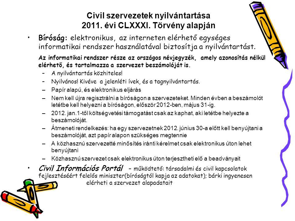 Civil szervezetek nyilvántartása 2011. évi CLXXXI. Törvény alapján Bíróság: elektronikus, az interneten elérhető egységes informatikai rendszer haszná