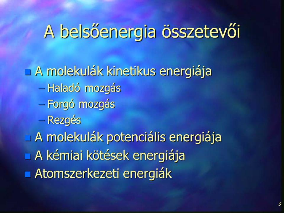 3 A belsőenergia összetevői n A molekulák kinetikus energiája –Haladó mozgás –Forgó mozgás –Rezgés n A molekulák potenciális energiája n A kémiai köté