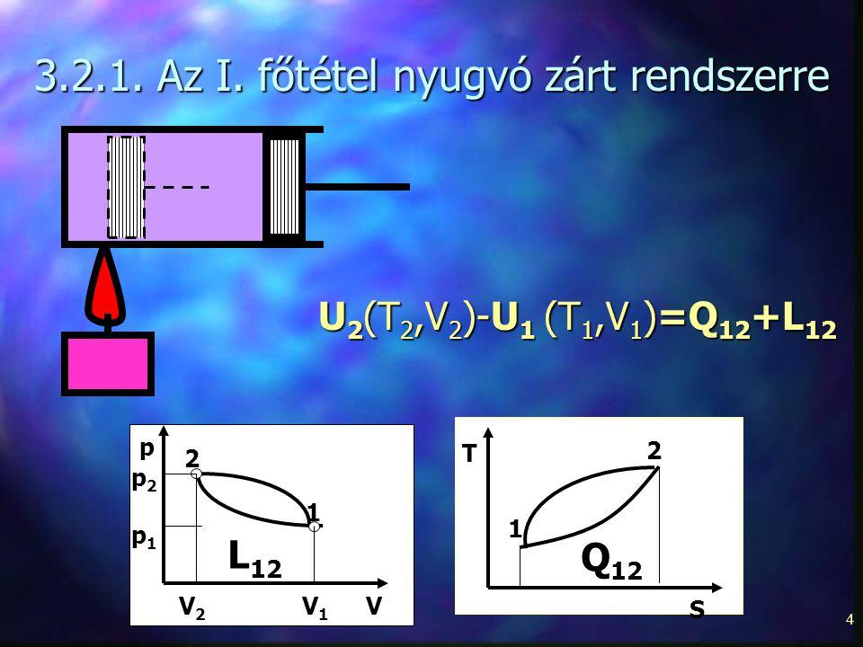4 3.2.1. Az I. főtétel nyugvó zárt rendszerre U 2 (T 2,V 2 )-U 1 (T 1,V 1 )=Q 12 +L 12 p V 1 2 L 12 p2p2 p1p1 V1V1 V2V2 T 2 1 Q 12 S