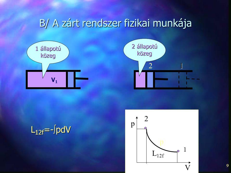9 B/ A zárt rendszer fizikai munkája 1 állapotú közeg V1V1 p p V 1 12 2 L 12f L 12f =-  pdV 2 állapotú közeg
