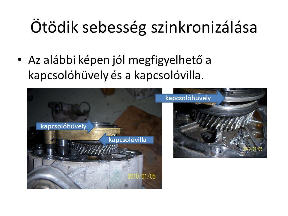 Ötödik sebesség szinkronizálása Az alábbi képen jól megfigyelhető a kapcsolóhüvely és a kapcsolóvilla. kapcsolóvilla kapcsolóhüvely