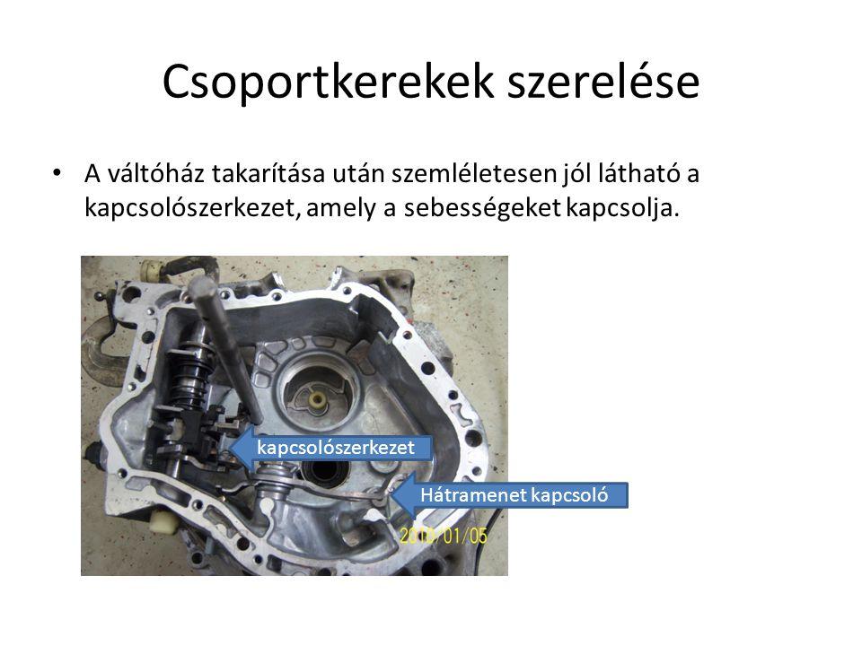 Csoportkerekek szerelése A váltóház takarítása után szemléletesen jól látható a kapcsolószerkezet, amely a sebességeket kapcsolja. Hátramenet kapcsoló