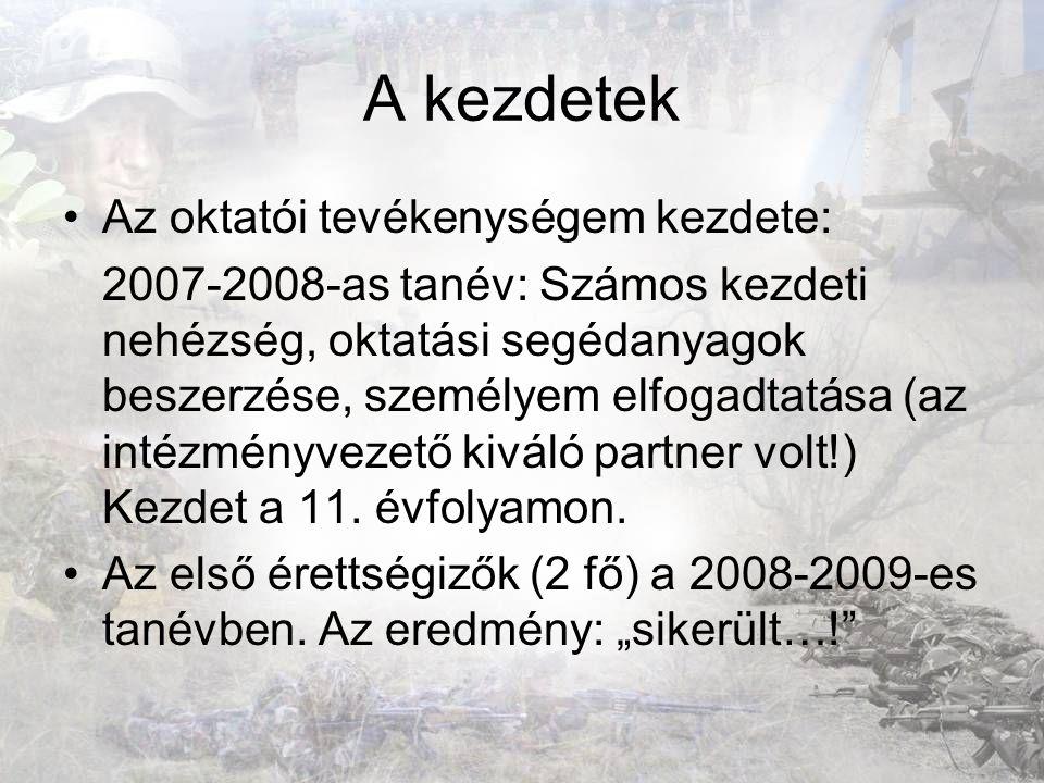 A kezdetek Az oktatói tevékenységem kezdete: 2007-2008-as tanév: Számos kezdeti nehézség, oktatási segédanyagok beszerzése, személyem elfogadtatása (a