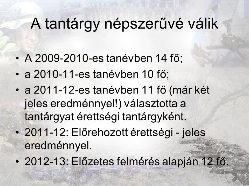 A tantárgy népszerűvé válik A 2009-2010-es tanévben 14 fő; a 2010-11-es tanévben 10 fő; a 2011-12-es tanévben 11 fő (már két jeles eredménnyel!) válas