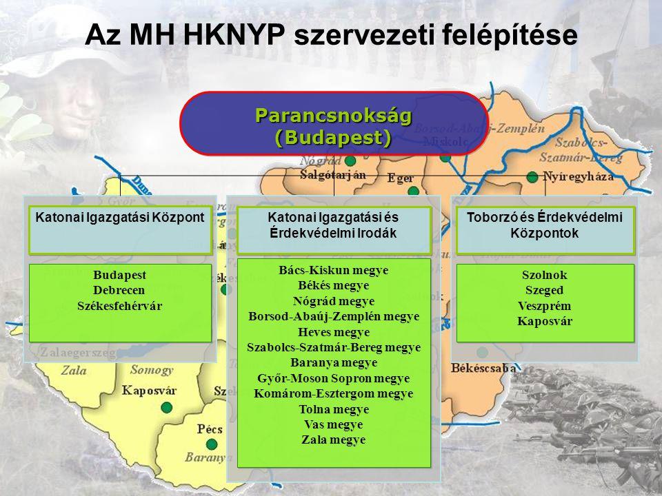 Az MH HKNYP szervezeti felépítése Parancsnokság(Budapest)Parancsnokság(Budapest) Toborzó és Érdekvédelmi Központok Szolnok Szeged Veszprém Kaposvár Sz