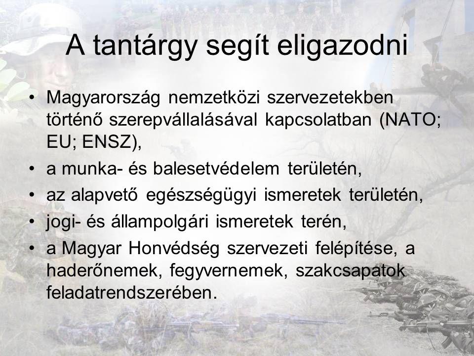 A tantárgy segít eligazodni Magyarország nemzetközi szervezetekben történő szerepvállalásával kapcsolatban (NATO; EU; ENSZ), a munka- és balesetvédele