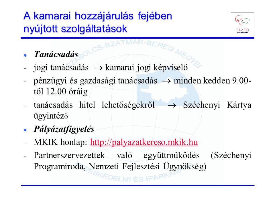 A kamarai hozzájárulás fejében nyújtott szolgáltatások Tanácsadás  jogi tanácsadás  kamarai jogi képviselő  pénzügyi és gazdasági tanácsadás  minden kedden 9.00- től 12.00 óráig  tanácsadás hitel lehetőségekről  Széchenyi Kártya ügyintéz ő Pályázatfigyelés  MKIK honlap: http://palyazatkereso.mkik.huhttp://palyazatkereso.mkik.hu  Partnerszervezettek való együttműködés (Széchenyi Programiroda, Nemzeti Fejlesztési Ügynökség)