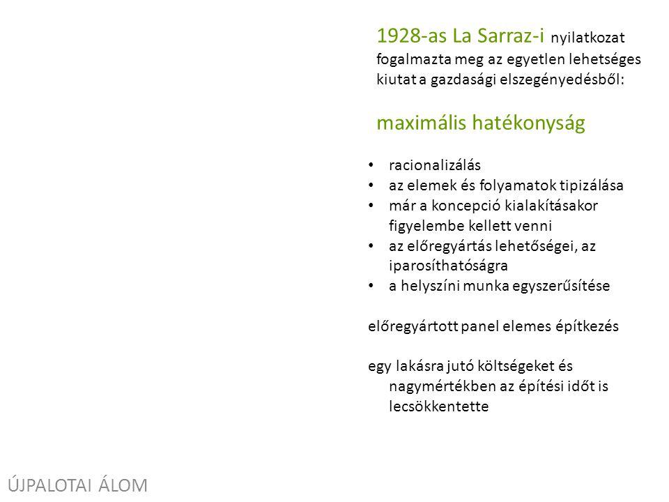 ÚJPALOTAI ÁLOM 1928-as La Sarraz-i nyilatkozat fogalmazta meg az egyetlen lehetséges kiutat a gazdasági elszegényedésből: maximális hatékonyság racionalizálás az elemek és folyamatok tipizálása már a koncepció kialakításakor figyelembe kellett venni az előregyártás lehetőségei, az iparosíthatóságra a helyszíni munka egyszerűsítése előregyártott panel elemes építkezés egy lakásra jutó költségeket és nagymértékben az építési időt is lecsökkentette