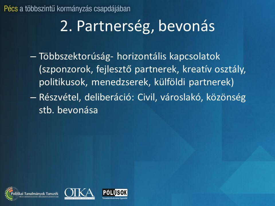 2. Partnerség, bevonás – Többszektorúság- horizontális kapcsolatok (szponzorok, fejlesztő partnerek, kreatív osztály, politikusok, menedzserek, külföl