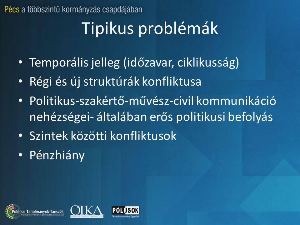 Tipikus problémák Temporális jelleg (időzavar, ciklikusság) Régi és új struktúrák konfliktusa Politikus-szakértő-művész-civil kommunikáció nehézségei- általában erős politikusi befolyás Szintek közötti konfliktusok Pénzhiány