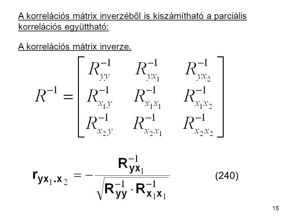 15 A korrelációs mátrix inverzéből is kiszámítható a parciális korrelációs együttható: (240) A korrelációs mátrix inverze.