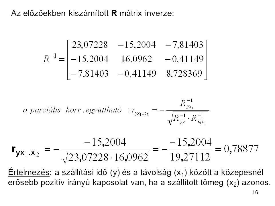 16 Az előzőekben kiszámított R mátrix inverze: Értelmezés: a szállítási idő (y) és a távolság (x 1 ) között a közepesnél erősebb pozitív irányú kapcso
