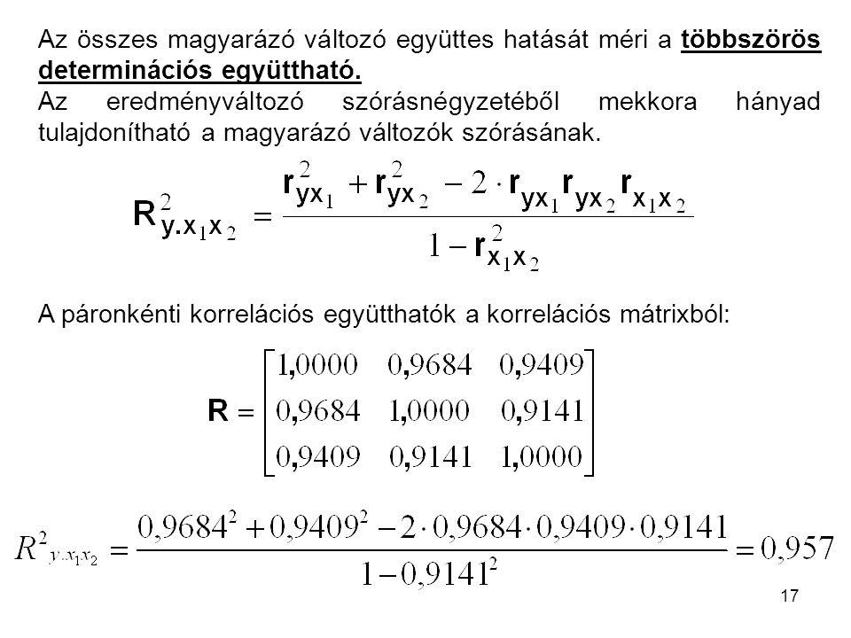 17 Az összes magyarázó változó együttes hatását méri a többszörös determinációs együttható. Az eredményváltozó szórásnégyzetéből mekkora hányad tulajd