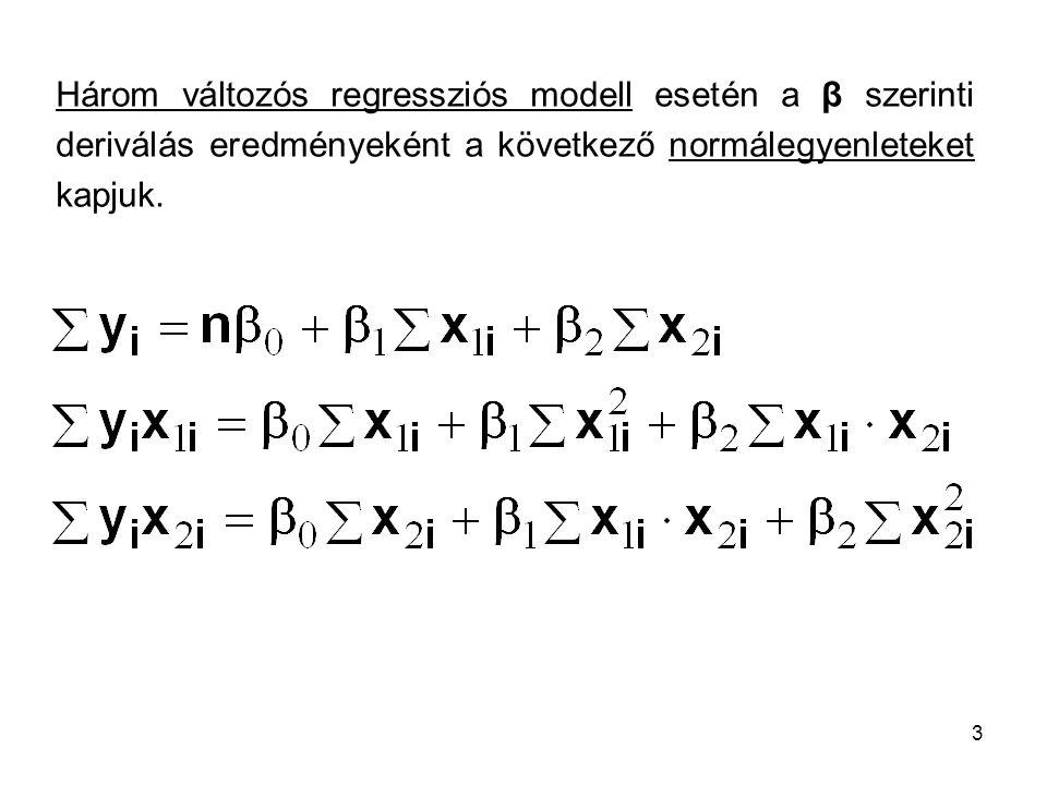 3 Három változós regressziós modell esetén a β szerinti deriválás eredményeként a következő normálegyenleteket kapjuk.