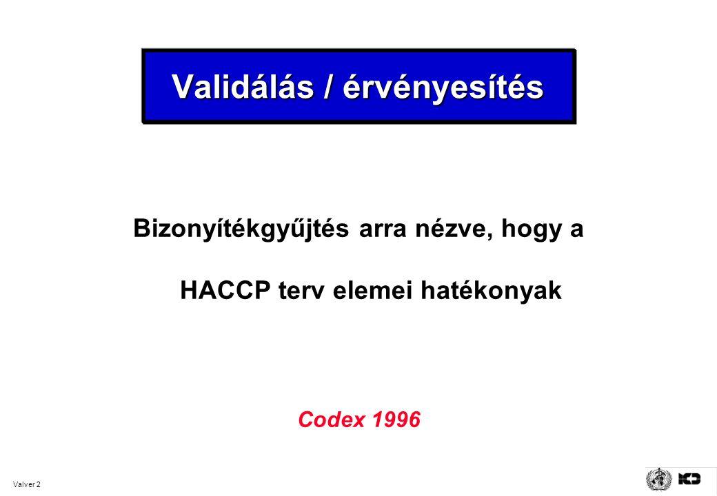 Valver 2 Validálás / érvényesítés Bizonyítékgyűjtés arra nézve, hogy a HACCP terv elemei hatékonyak Codex 1996