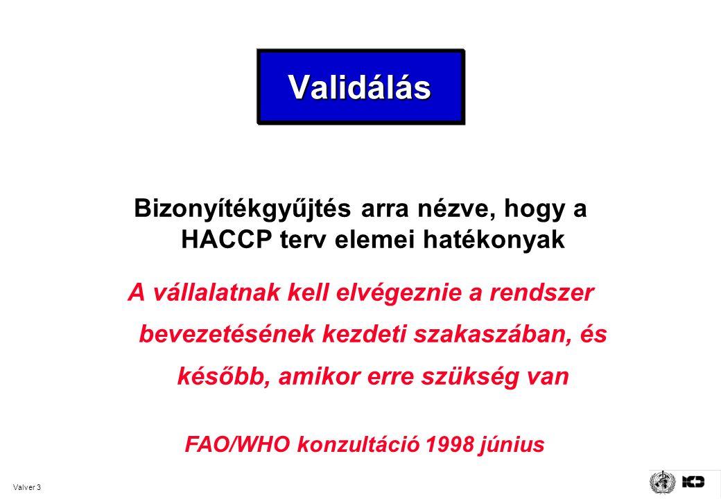 Valver 3 ValidálásValidálás Bizonyítékgyűjtés arra nézve, hogy a HACCP terv elemei hatékonyak A vállalatnak kell elvégeznie a rendszer bevezetésének kezdeti szakaszában, és később, amikor erre szükség van FAO/WHO konzultáció 1998 június