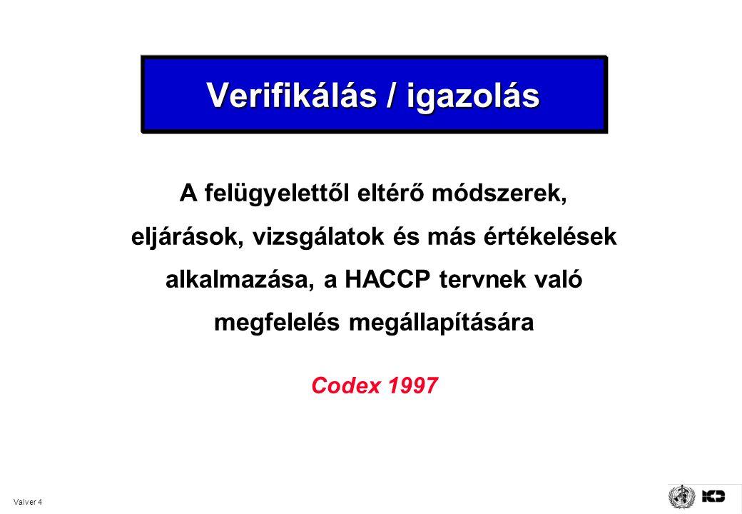 Valver 4 Verifikálás / igazolás A felügyelettől eltérő módszerek, eljárások, vizsgálatok és más értékelések alkalmazása, a HACCP tervnek való megfelelés megállapítására Codex 1997