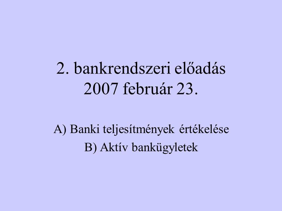 A) Teljesítményértékelés Bankteljesítményben érdekeltek köre (részvényesek, befektetők, partnerbankok, betétesek, értékpapírok vásárlói, PM, PSZAF, MNB, könyvvizsgálók, hitelminősítők, bankvezetők, és banki dolgozók) Pénzügyi kimutatások –Bankmérleg –Eredmény-kimutatás –CAMEL