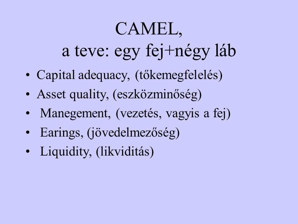 CAMEL, a teve: egy fej+négy láb Capital adequacy, (tőkemegfelelés) Asset quality, (eszközminőség) Manegement, (vezetés, vagyis a fej) Earings, (jövedelmezőség) Liquidity, (likviditás)