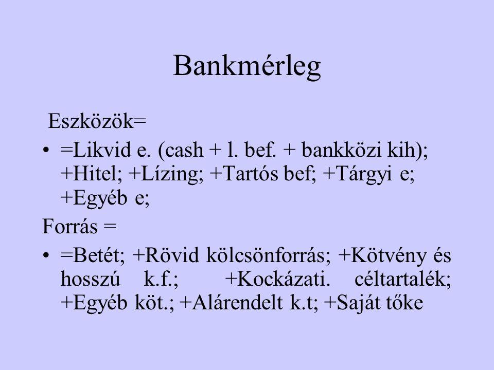 Bankmérleg Eszközök= =Likvid e.(cash + l. bef.