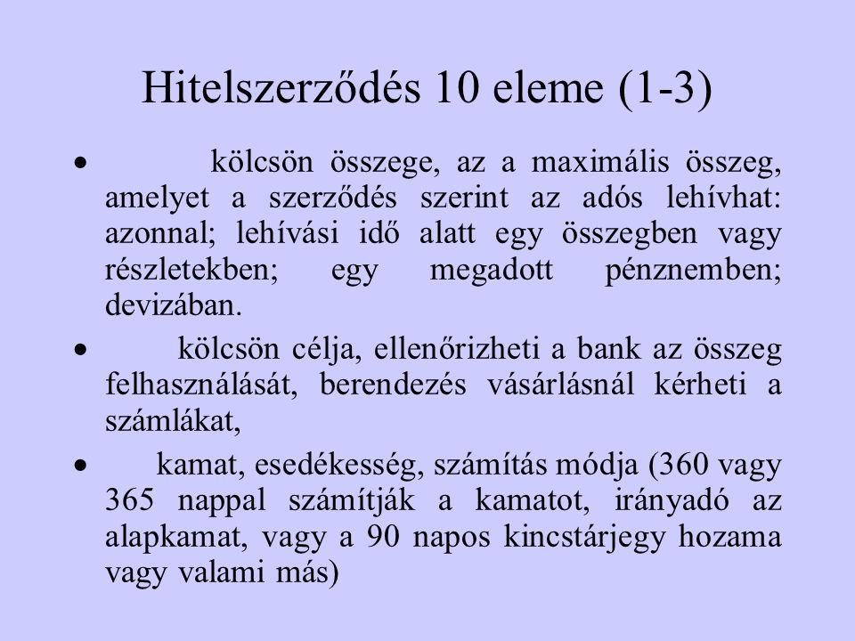 Hitelszerződés 10 eleme (1-3)  kölcsön összege, az a maximális összeg, amelyet a szerződés szerint az adós lehívhat: azonnal; lehívási idő alatt egy összegben vagy részletekben; egy megadott pénznemben; devizában.