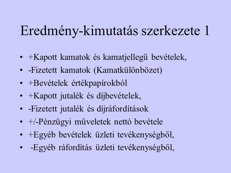 Eredmény-kimutatás szerkezete 2 -Általános igazgatási Költs.