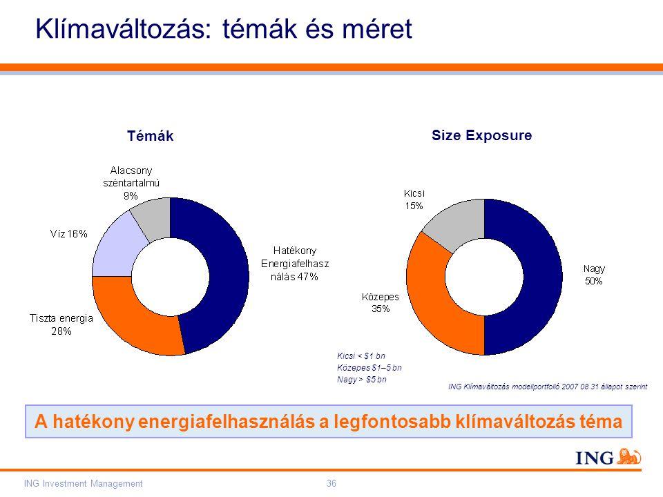 Do not put content on the brand signature area Orange RGB= 255,102,000 Light blue RGB= 180,195,225 Dark blue RGB= 000,000,102 Grey RGB= 150,150,150 ING colour balance Guideline www.ing-presentations.intranet ING Investment Management36 Klímaváltozás: témák és méret A hatékony energiafelhasználás a legfontosabb klímaváltozás téma Kicsi < $1 bn Közepes $1–5 bn Nagy > $5 bn Témák Size Exposure ING Klímaváltozás modellportfolió 2007 08 31 állapot szerint