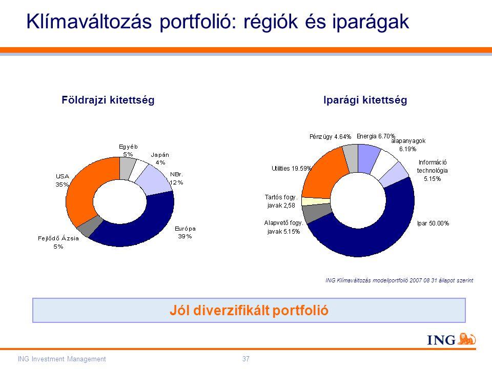 Do not put content on the brand signature area Orange RGB= 255,102,000 Light blue RGB= 180,195,225 Dark blue RGB= 000,000,102 Grey RGB= 150,150,150 ING colour balance Guideline www.ing-presentations.intranet ING Investment Management37 Klímaváltozás portfolió: régiók és iparágak Jól diverzifikált portfolió Földrajzi kitettség Iparági kitettség ING Klímaváltozás modellportfolió 2007 08 31 állapot szerint