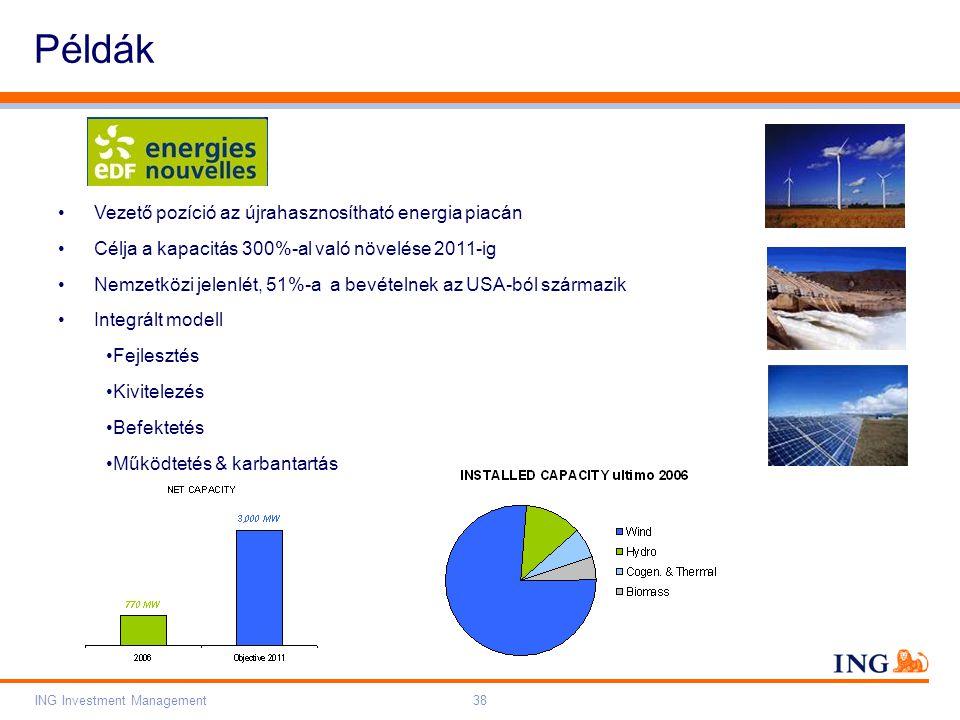 Do not put content on the brand signature area Orange RGB= 255,102,000 Light blue RGB= 180,195,225 Dark blue RGB= 000,000,102 Grey RGB= 150,150,150 ING colour balance Guideline www.ing-presentations.intranet ING Investment Management38 Példák Vezető pozíció az újrahasznosítható energia piacán Célja a kapacitás 300%-al való növelése 2011-ig Nemzetközi jelenlét, 51%-a a bevételnek az USA-ból származik Integrált modell Fejlesztés Kivitelezés Befektetés Működtetés & karbantartás