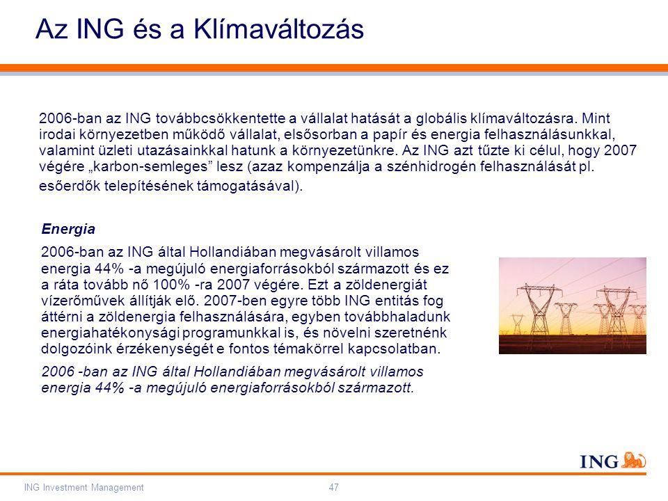 Do not put content on the brand signature area Orange RGB= 255,102,000 Light blue RGB= 180,195,225 Dark blue RGB= 000,000,102 Grey RGB= 150,150,150 ING colour balance Guideline www.ing-presentations.intranet ING Investment Management47 Az ING és a Klímaváltozás 2006-ban az ING továbbcsökkentette a vállalat hatását a globális klímaváltozásra.