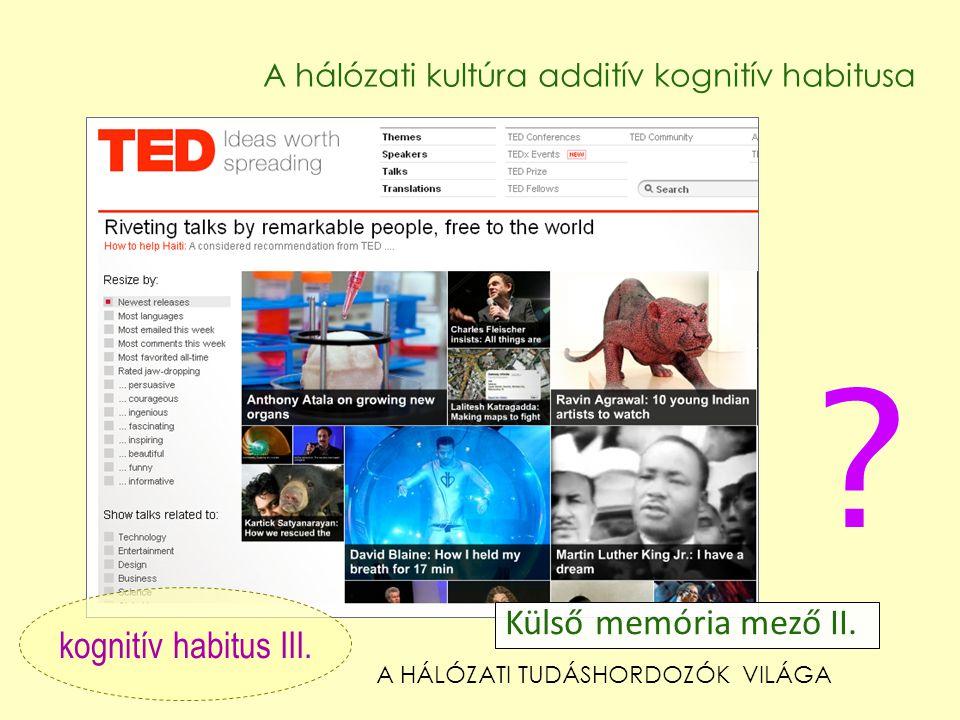 Külső memória mező II. kognitív habitus III.