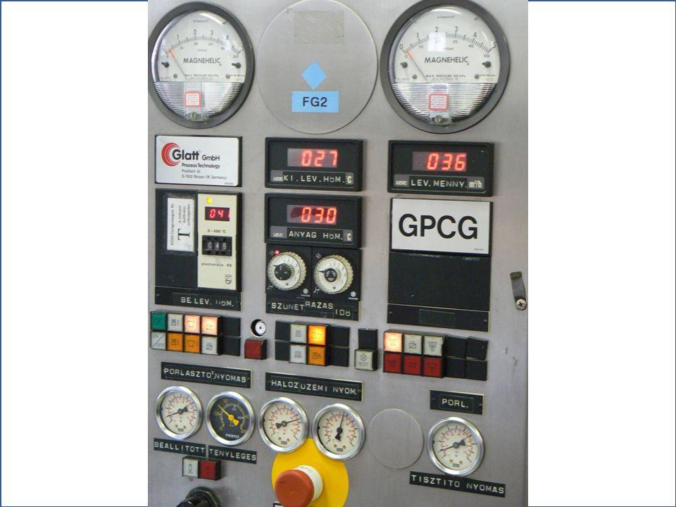 Granulálást befolyásoló paraméterek Kötőanyag és oldószer anyagi minősége Fluidizációs levegő térfogatárama; be- és kilépő levegő hőmérséklete Granulá
