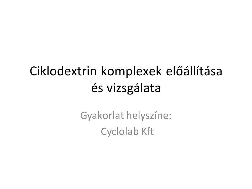 Ciklodextrin komplexek előállítása és vizsgálata Gyakorlat helyszíne: Cyclolab Kft
