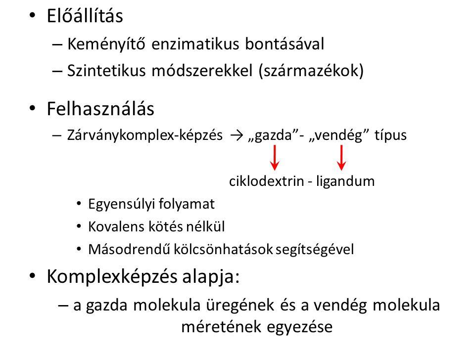 """Előállítás – Keményítő enzimatikus bontásával – Szintetikus módszerekkel (származékok) Felhasználás – Zárványkomplex-képzés → """"gazda""""- """"vendég"""" típus"""