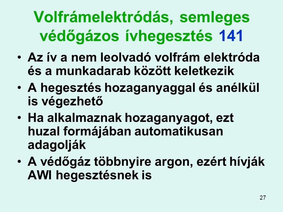 27 Volfrámelektródás, semleges védőgázos ívhegesztés 141 Az ív a nem leolvadó volfrám elektróda és a munkadarab között keletkezik A hegesztés hozagany
