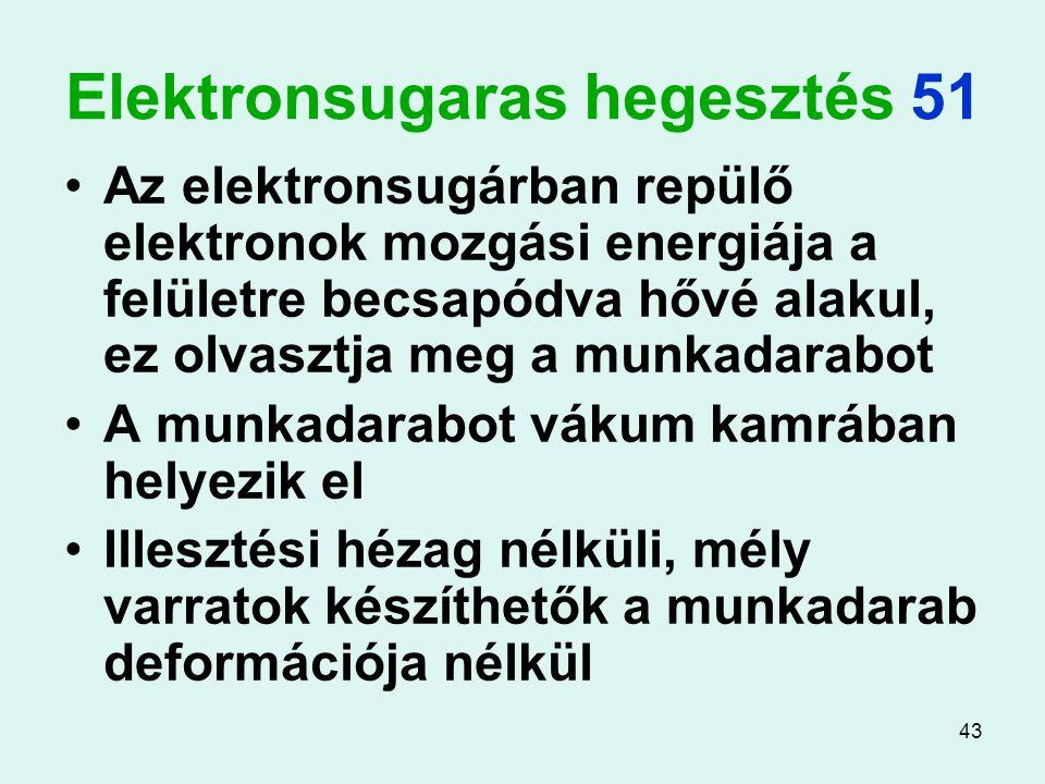 43 Elektronsugaras hegesztés 51 Az elektronsugárban repülő elektronok mozgási energiája a felületre becsapódva hővé alakul, ez olvasztja meg a munkada