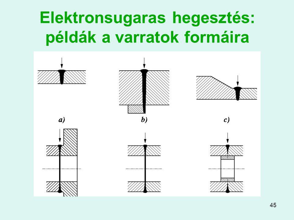 45 Elektronsugaras hegesztés: példák a varratok formáira