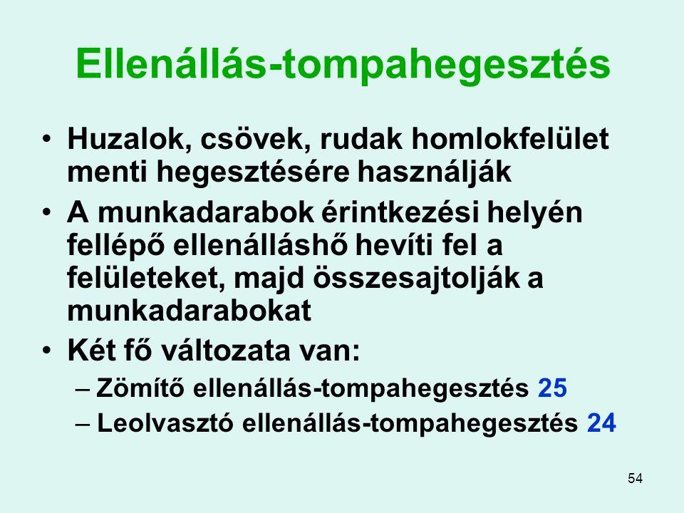 54 Ellenállás-tompahegesztés Huzalok, csövek, rudak homlokfelület menti hegesztésére használják A munkadarabok érintkezési helyén fellépő ellenálláshő