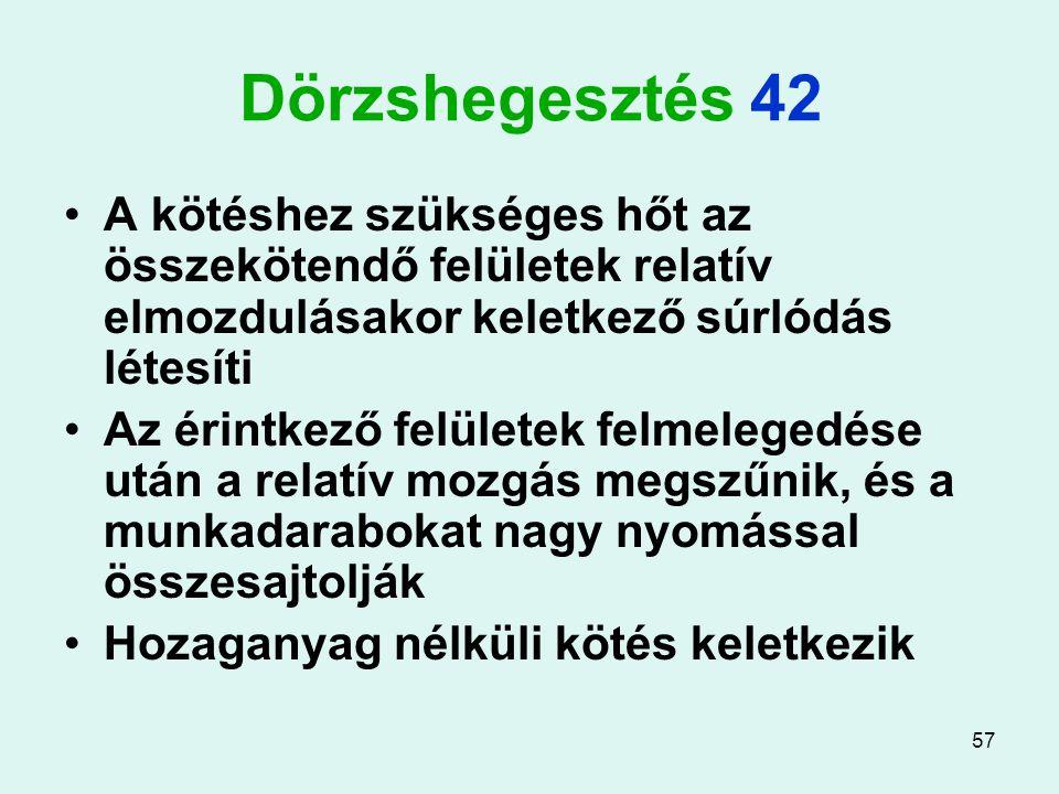 57 Dörzshegesztés 42 A kötéshez szükséges hőt az összekötendő felületek relatív elmozdulásakor keletkező súrlódás létesíti Az érintkező felületek felm