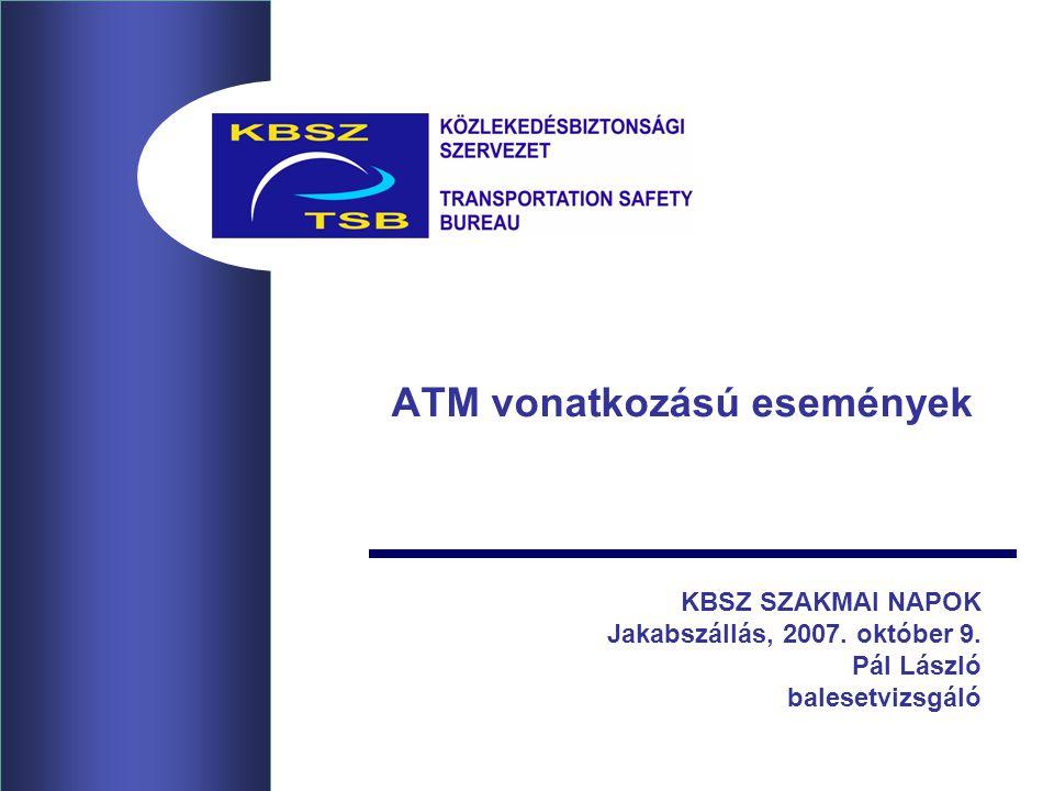 ATM vonatkozású események KBSZ SZAKMAI NAPOK Jakabszállás, 2007. október 9. Pál László balesetvizsgáló