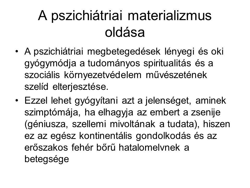 A pszichiátriai materializmus oldása A pszichiátriai megbetegedések lényegi és oki gyógymódja a tudományos spiritualitás és a szociális környezetvédel