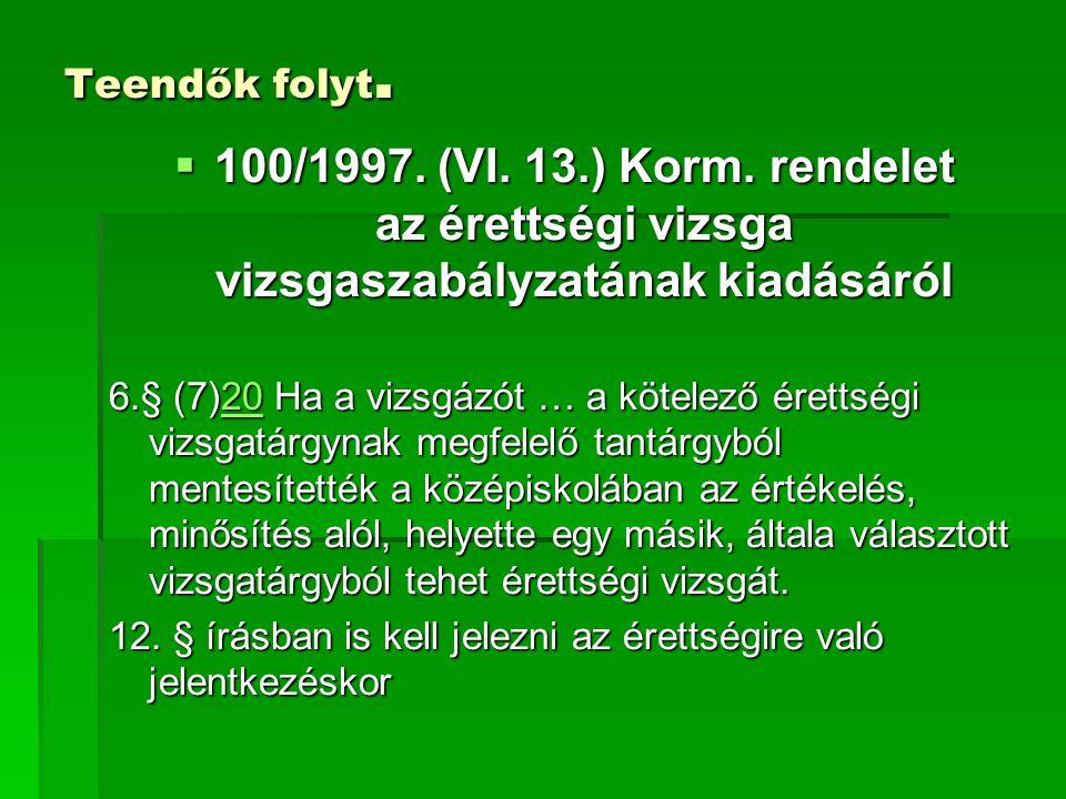Teendők folyt.  100/1997. (VI. 13.) Korm. rendelet az érettségi vizsga vizsgaszabályzatának kiadásáról 6.§ (7)20 Ha a vizsgázót … a kötelező érettség