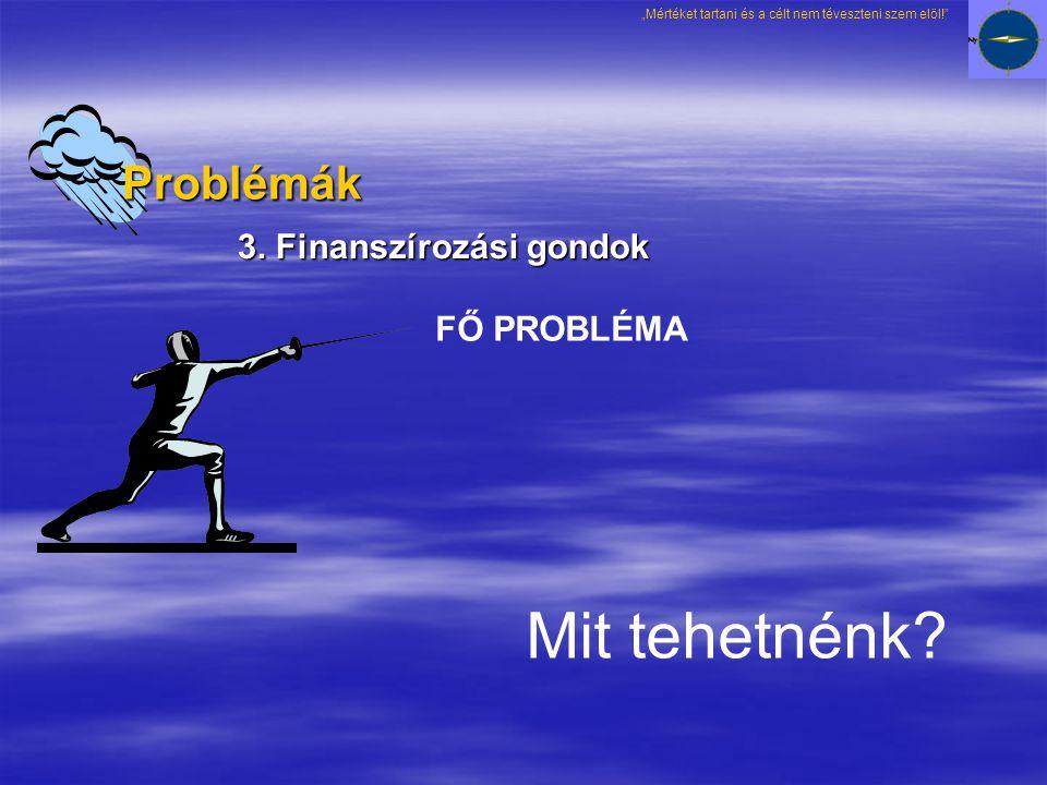 3. Finanszírozási gondok FŐ PROBLÉMA Mit tehetnénk.