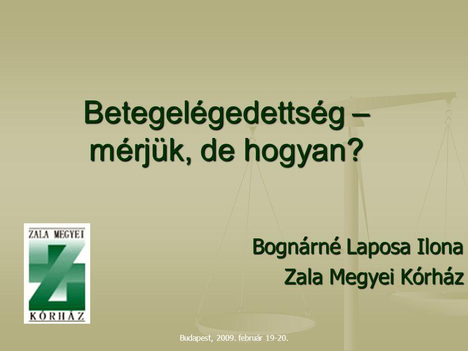 Budapest, 2009. február 19-20. Betegelégedettség – mérjük, de hogyan? Bognárné Laposa Ilona Zala Megyei Kórház