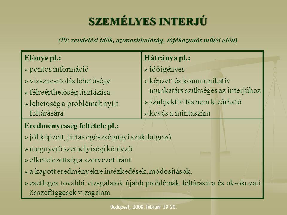 Budapest, 2009. február 19-20. SZEMÉLYES INTERJÚ (Pl: rendelési idők, azonosíthatóság, tájékoztatás műtét előtt) Előnye pl.:  pontos információ  vis